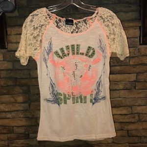 "Daytrip lace ""wild spirit"" shirt size small"